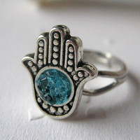 Hamsa Ring, Small Hamsa Ring, Silver Hamsa Ring, Blue Hamsa Ring, Hand Ring, Hamsa Jewelry