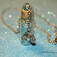 Cinderella Necklace,  Bottle of Happily Ever After Princess Magic with a Pumpkin Carriage Charm by Life is the Bubbles