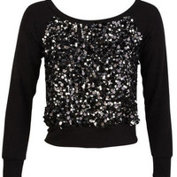 Large sequin Front Sweatshirt