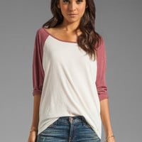 RVCA Label Ziggy Baseball Tee in Marshmellow/Berry from REVOLVEclothing.com