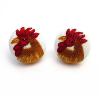 Chicken Button Earrings Rooster Barn Animals by ButtonBeloved