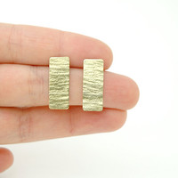 Rectangle Stud Earrings - Hand Hammered Raw Brass Earrings - Modern Geometric Jewellery - Valentine&#x27;s Day
