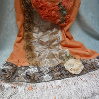 FLAPPER Great Gatsby 1920s Speakeasy Roaring 20s Jazz Age - Vintage Slip Make Over - Coral & taupe