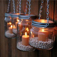The Country Barrel  Set of 4 DIY Mason Jar Luminary Lids - Silver Chain