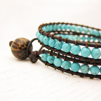 Faceted Turquoise Leather Wrap Bracelet with Coconut by byjodi