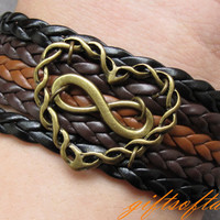 Infinity Love Bracelet-Antique Bronze love Bracelet, Infinity Bracelet & Multistrand Braid Chain Bracelet, Gift for Girlfriend - T259
