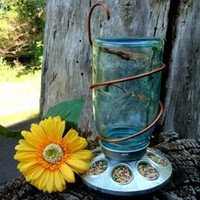 The Country Barrel — Antique Blue Ball Mason Jar Bird Feeder with Copper Hanger