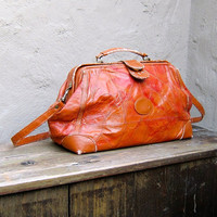 Vintage Distressed Patchwork Cognac Orange Leather Doctors Bag w/Shoulder Strap