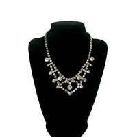 Vintage Rhinestone Necklace Choker Bib Style Jewelry with Heart Shape Design