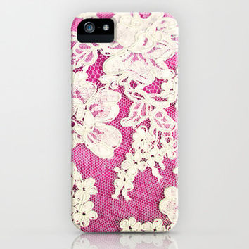 pink lace-photograph of vintage lace iPhone Case by Sylvia Cook Photography | Society6