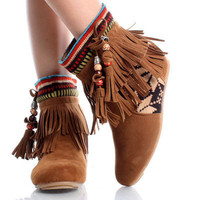 Tribal Fringe Ankle Boot...