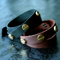 Rivited Leather Wrist Wrap Bracelet by bLuGrnDesign on Etsy