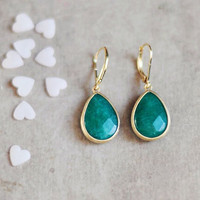 drop emerald green jade stone earrings by YUNILIsmiles