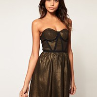 ASOS | ASOS Bandeau Skater Dress with Contrast Trim at ASOS