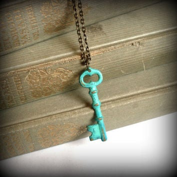Mint Verdigris Green Hand Aged Raw Brass Skeleton by SovereignSea