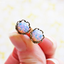 Vintage Pink Opal Earrings Dainty Glass Opal Ear by dondalees