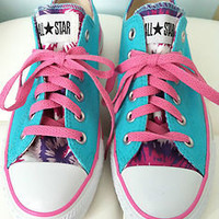 Womens Converse All Star Custom Sneekers Athletic Shoes Aqua & Pink Size 5 Teen