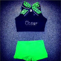 Rhinestone & Lime Green Cheer Outfit