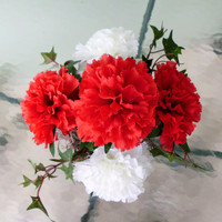 Silk Floral Arrangement, Valentine's Day Carnations, and Ivy (V4)