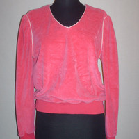 Vintage 1980s Velour Sweater Hot Pink