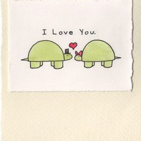 Handmade Valentine I Love You Card with Turtles 4x6