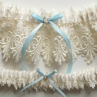 Wedding Garter Set with Blue Satin Ribbon Bow and Swarovski Crystal Centering  - The ALICIA Garter Set