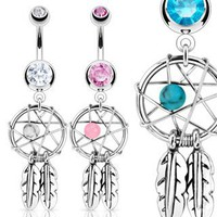 Aqua Dreamcatcher with Cz Belly Navel Ring - 14g - 3/8