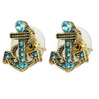 Antique Blue Pattern Bronze Rhinestone Paved Nautical Anchor Stud Earrings: Jewelry: Amazon.com