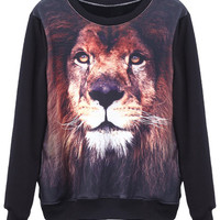 "ROMWE | ""Tiger Head"" Black Pullover, The Latest Street Fashion"