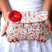 Valentine Gift for Her Red Rose Purse Pleated Wristlet with Sateen red flower