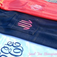 Short Sleeve Pocket Monogram TShirt by SweetTeaMonograms on Etsy