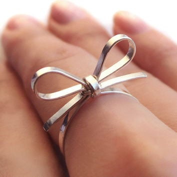 Skinny Sterling Silver Forget Me Knot Bow Tie by PaupersBounty
