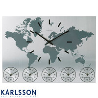 Worldtime Clock by Karlsson ? aluminium wall clock displaying 6 time zones