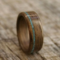 Walnut Bentwood Ring with Offset Turquoise Inlay by stoutwoodworks