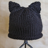 Newborn Black Cat Ear Hat Ready to Ship by SunshineRoseDesign