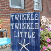 Beach Sign Twinkle Twinkle Little Starfish Baby Nursery Coastal and cottage Decor