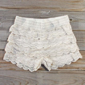 Easy Rider Shorts in Cream, Women's Sweet Bohemian Clothing
