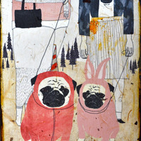 Pug Love mixed media print on wood by retrowhale on Etsy