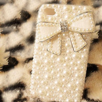 Bling Bowknot Pearl Case Cover For iPhone 4 4G 4S Handmade Fashion Girl Gift