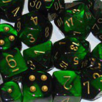 Gemini Polyhedral Black Green / Gold 7-Die Set - Accessories