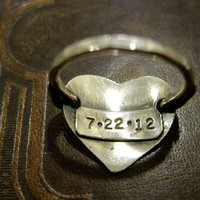 sterling silver stamped heart ring anniversary date initial customized boyfriend wedding