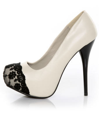 Swarovski Crystal  Black & Ivory Lace Platforms  by UniqueHeelz