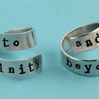 To Infinity and Beyond Rings - Adjustable Twist Aluminum Rings - Handstamped Rings - Valentine&#x27;s Day Gift