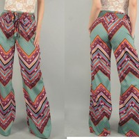 concreteroseboutique — Ethnic Wide Leg Pants
