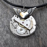 Clockpunk Steampunk Pendant Necklace, Stainless Steel Watch Movement with Heart in Flight, Steel Gears on Leather Necklace