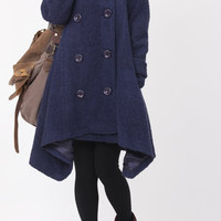 Double breasted Hoodie wool coat/winter wool coat/Cloak by MaLieb