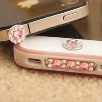 Amazon.com: A set of bling pink crystal anti dust, home button sticker, dock charge antidust for iphone 4S: Cell Phones & Accessories