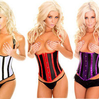 Steel Boned Lace Up Underbust Corsets Bustier Costume Black Purple Red White