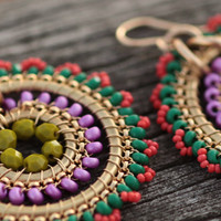 Statement, Beadwork, Hoop, Dangling, Drop, Handmade, Cocktail Earrings in Kaleidoscope colors - Gold, Coral, Green and Purple