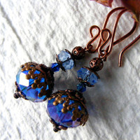 Electric blue  affordable earrings by artemisartdesign on Etsy